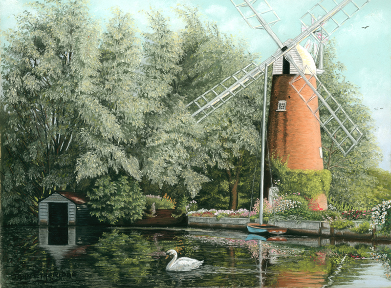 Drawing Called An Early July Morning At Hunsett Mill