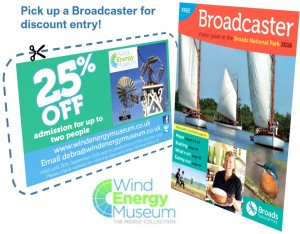 25% Off Wind Energy Museum Entry with voucher in the Broadcaster Newspaper | Norfolk